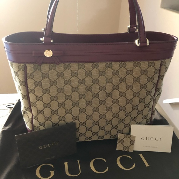3cad7c1c2bb248 Gucci Bags | Magenta Canvasleather Mayfair Tote | Poshmark